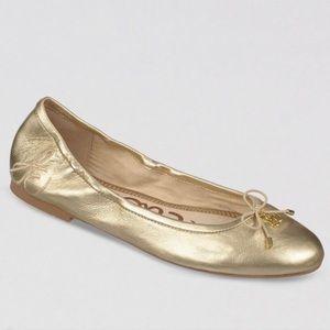 Sam Edelman Gold Felicia Ballet Flat 6.5 Wide